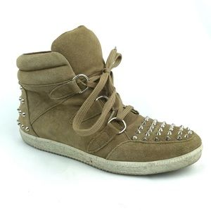 Sandro Tan Suede High Top Sneakers Albatorock 37